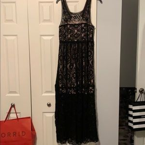 Cute lace dress with lace shell longer than dress